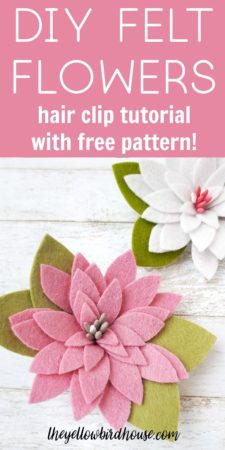 DIY Felt flower hair clip tutorial with free pattern download. Learn how to make this pretty rolled felt flowers with this simple tutorial. Download the free pattern to make these adorable felt flower hair clips. Easy felt flower tutorial. DIY felt flowers are such a pretty accessory!