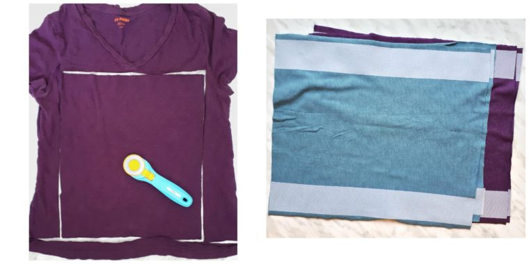Cutting out the t-shirts for a DIY cowl