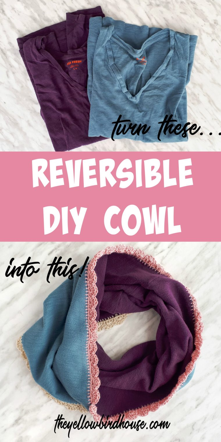 Reversible DIY cowl tutorial. Upcycle a couple of t-shirts into a cozy cowl with a pretty crochet edge. A simple zero-waste project to breathe new life into sad items!