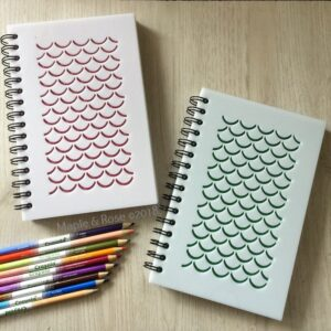 Engraved glitter mermaid scale journal