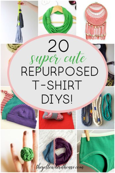 20 super cute repurposed t-shirt diys! Upcycle your old tees into home decor, adorable accessories and practical baby items. Repurposed t-shirt diys are a great way to practice zero waste and make use of clothes that still have a little life left in them!