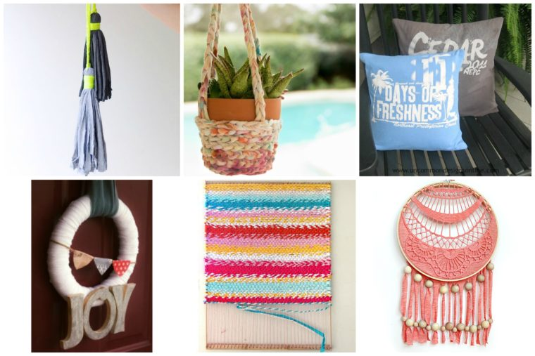 Use old t-shirts to craft some fun DIY home decor. Boho home decor out of repurposed t-shirts!
