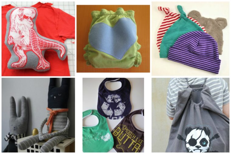 Upcycled Tshirts can be turned into useful DIY baby items!