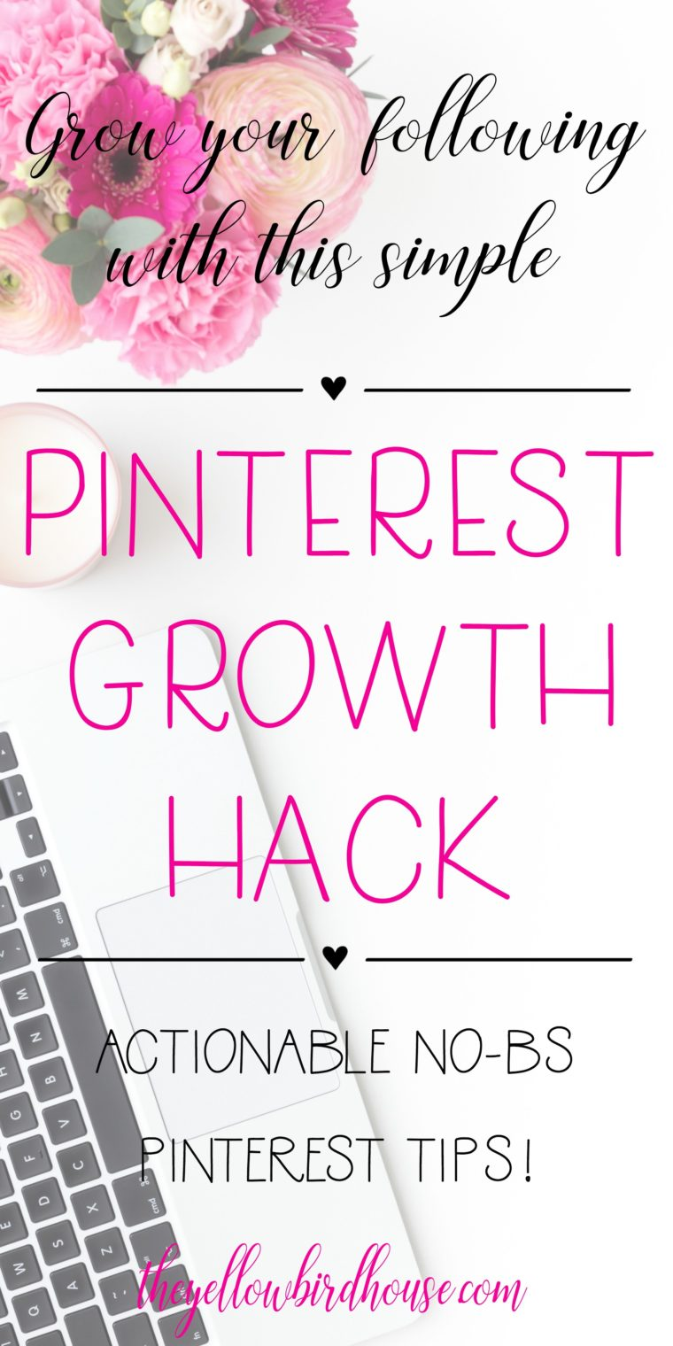 Grow your following with this simple Pinterest growth hack. An easy and actionable pinterest tip for increasing your reach and growing your followers. Easy Pinterest strategy to increase your traffic. No BS tips for effectively using Pinterest as part of your creative business marketing strategy!
