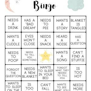 Toddler Bedtime Bingo Cards