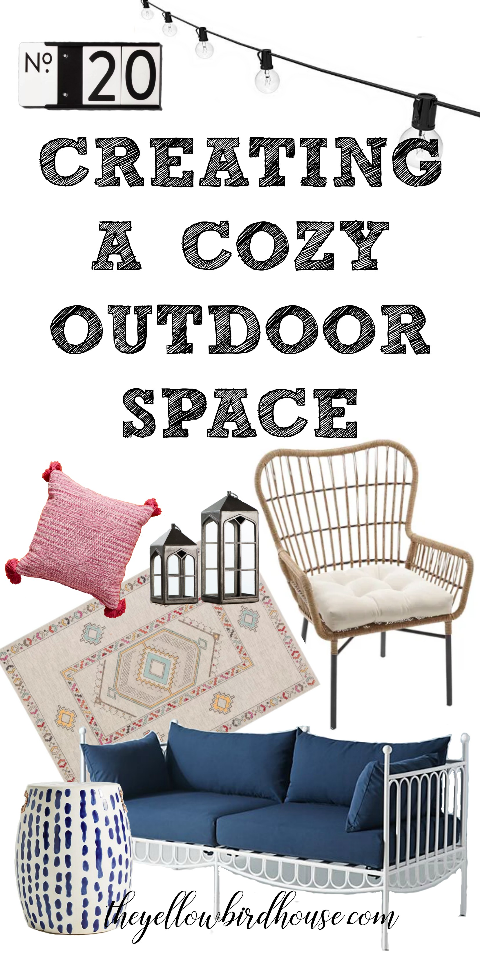 Creating a cozy outdoor space. My design ideas for a boho outdoor space. I'm making a design plan for our new covered deck for the house we're building. Boho deck decor. Cozy design elements for outdoor spaces. I've having fun making design plans for the new house, including this super cozy and unique covered deck!