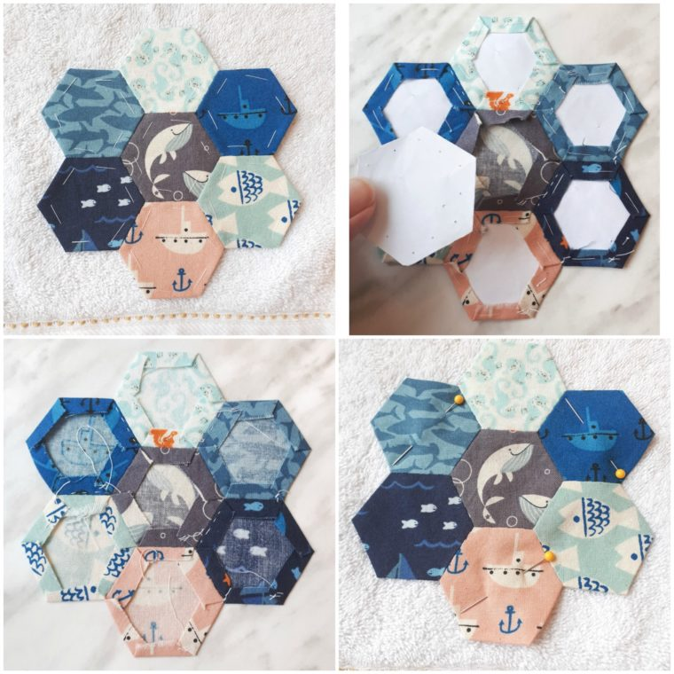 english paper piece some cute hexies for a great scrap busting hand towel upcycle project!