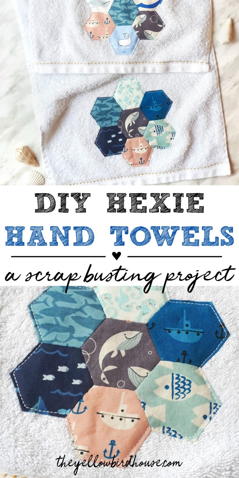 DIY Scrap Busting Project - Hexie Hand Towel Upcycle. Learn how to embellish blah hand towels with super cute english paper pieced fabric hexies! Simple scrap busting sewing project. Zero waste hand towel upcycle. Breathe new life into ugly stuff using cute fabrics!