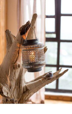Beautiful outdoor lantern for a boho deck design