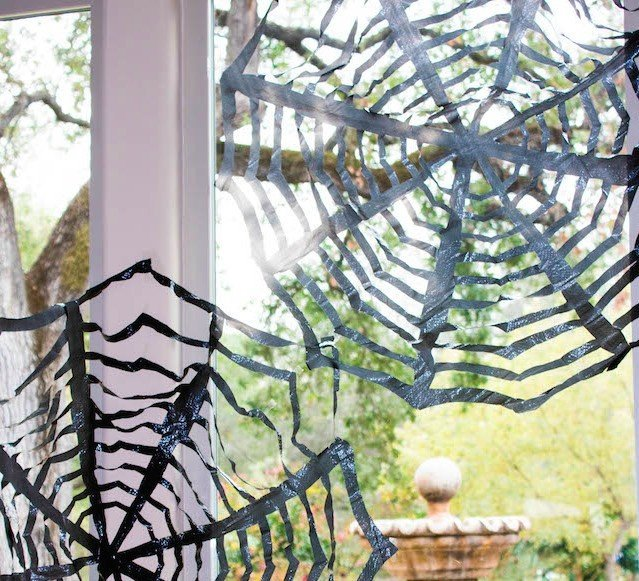 DIY Halloween Decor for Kids, trash bag spider web tutorial