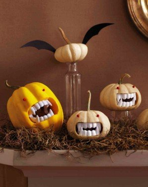 Decorate with these spooky and adorable mini fanged pumpkins!