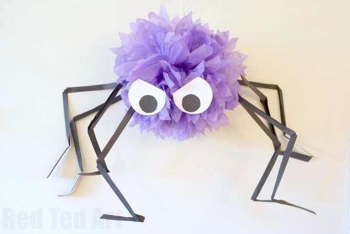 DIY Giant paper pom pom spiders