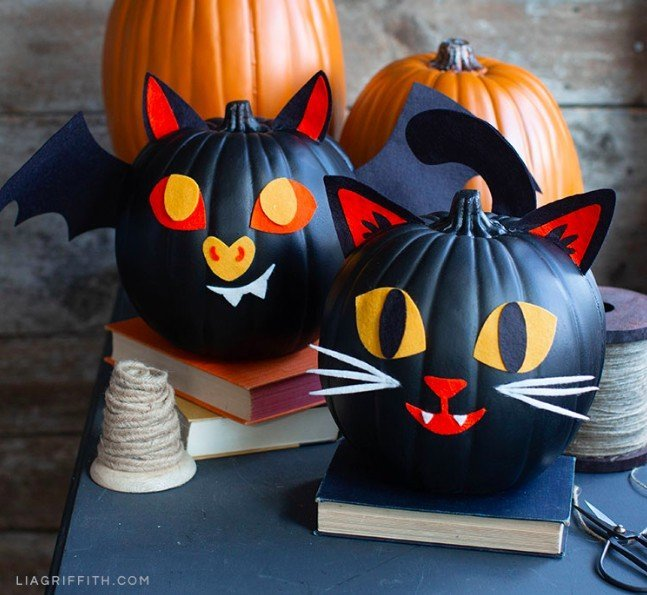 Easy felt decorated faux pumpkins