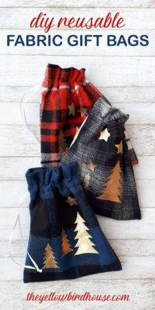 DIY Reusable Fabric Gift Bags. Simple sewing tutorial for Christmas. DIY Christmas gift bags. DIY Teacher gifts, treat bag sewing tutorial. Make these cute and functional fabric gift bags for Christmas and watch them get reused year after year. Eco-friendly DIY gift bags. #christmasdiy #sewingtutorial #christmascraft