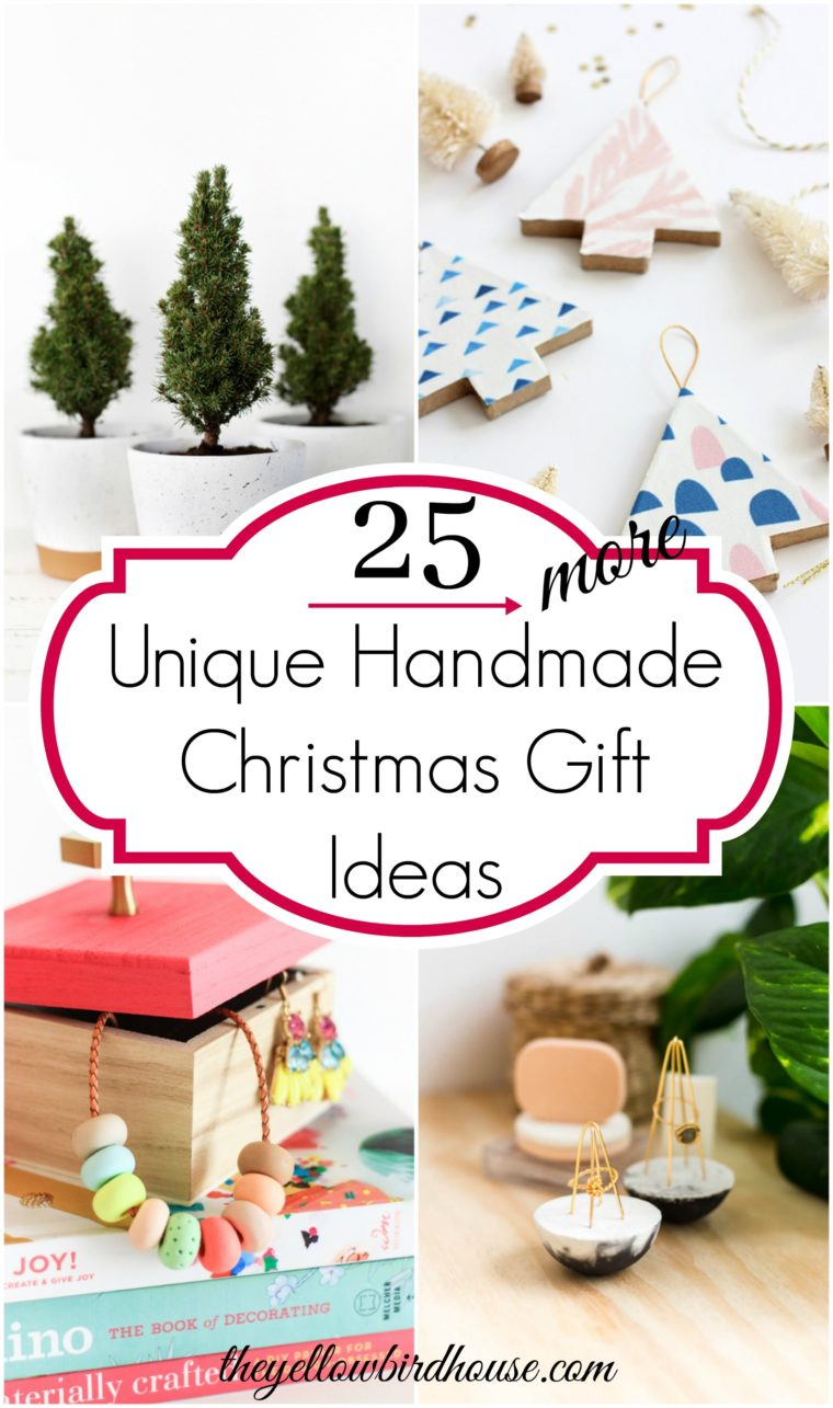 25 More unique handmade gift ideas for Christmas. DIY Christmas gifts. Make Christmas extra special with handmade gift ideas for family and friends. Handmade gifts are the best gifts! DIY gift ideas for her. 25 more homemade gift ideas for the Holidays.