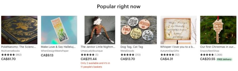 A snapshot of what's popular right now on the Etsy homepage