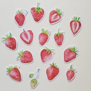 Cute strawberry stickers to add to etsy orders