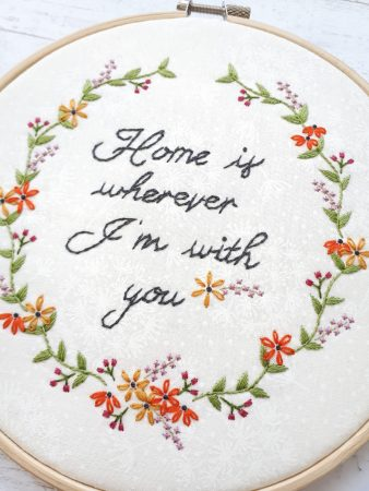 Beautiful floral embroidery pattern for beginners. Simple DIY home decor. Modern embroidery for the modern home!