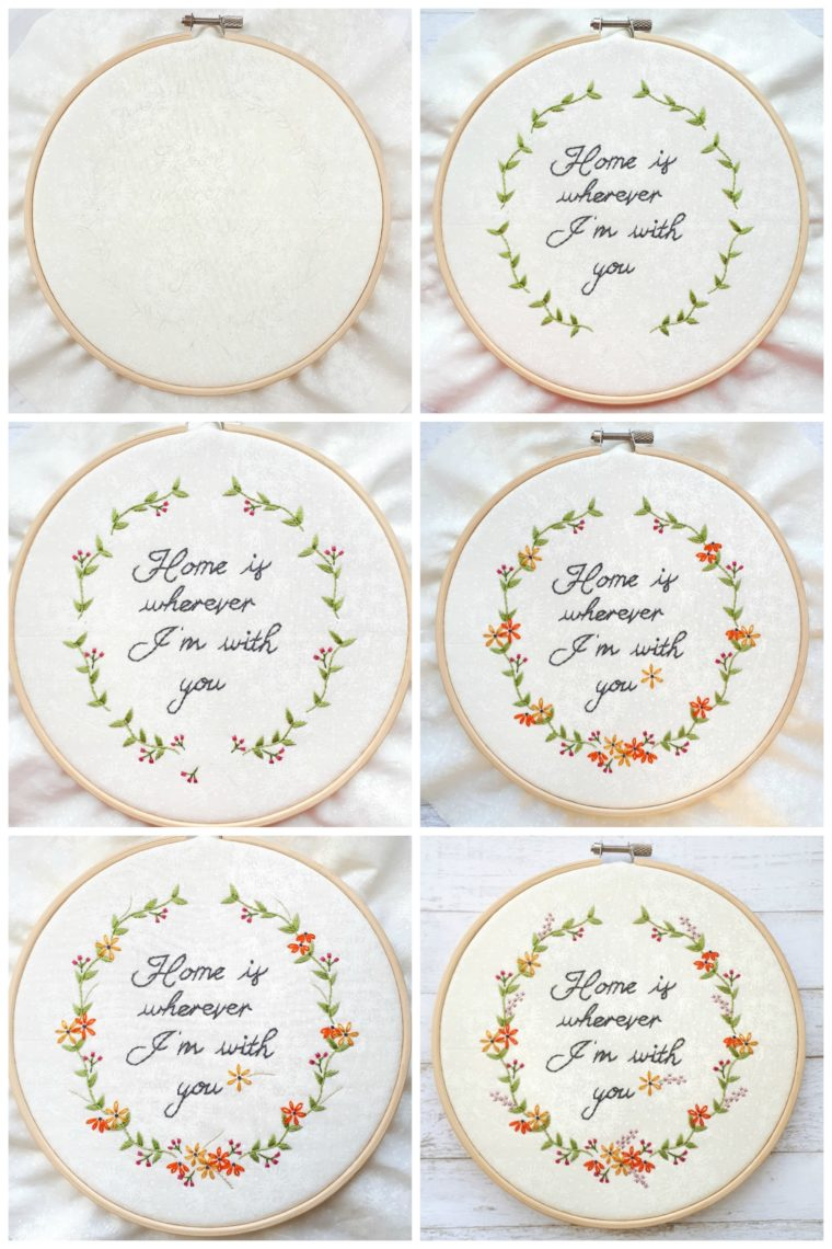 Free floral embroidery pattern. Beautiful beginner stitching design.