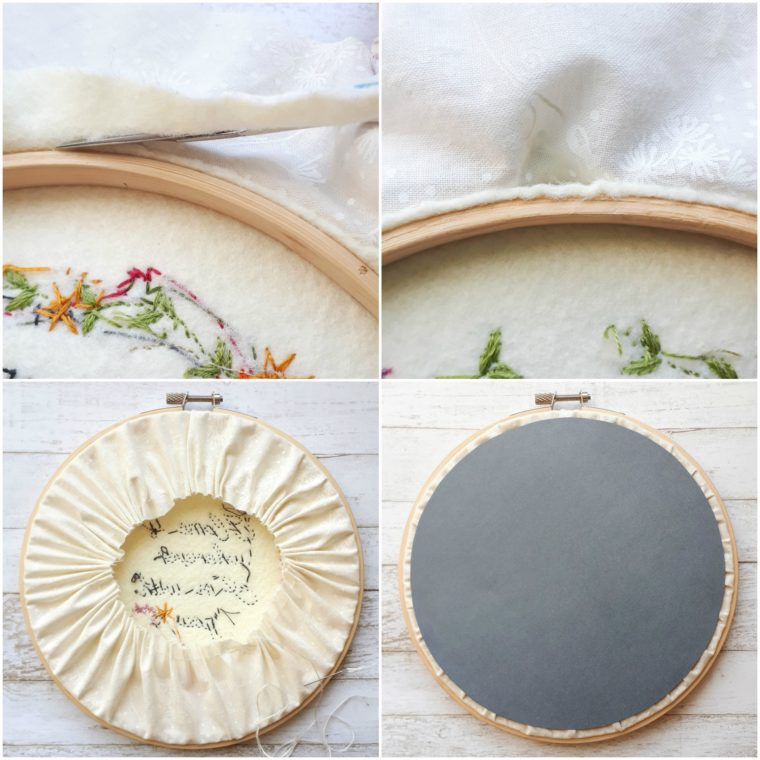 Finishing up the back of your embroidery hoop art.