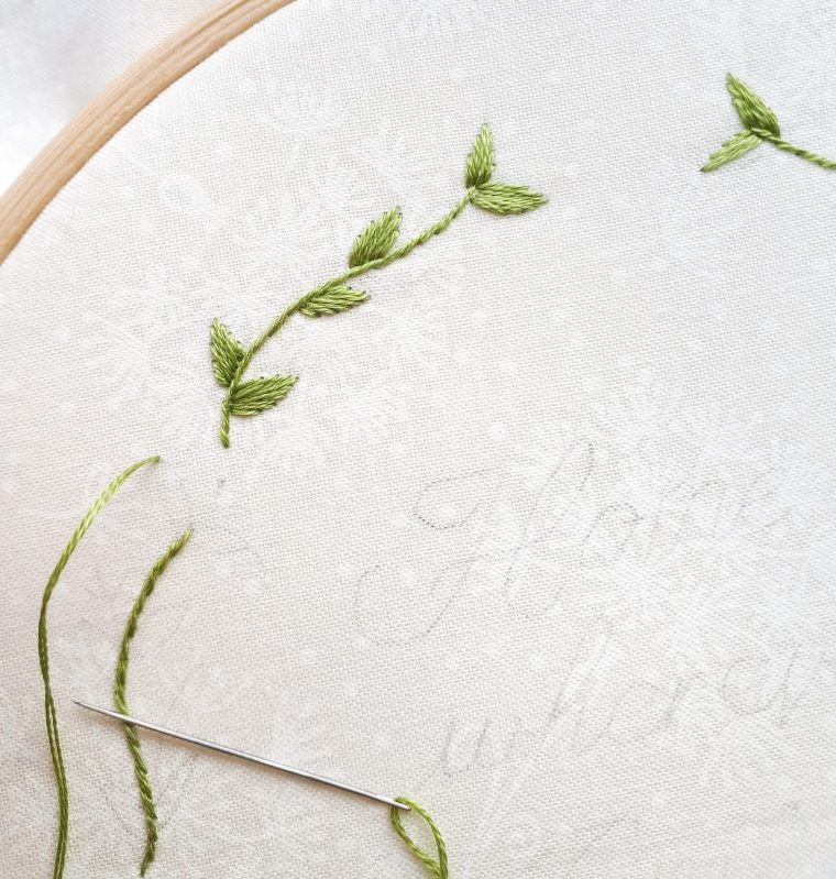 Stitching the leave and vines