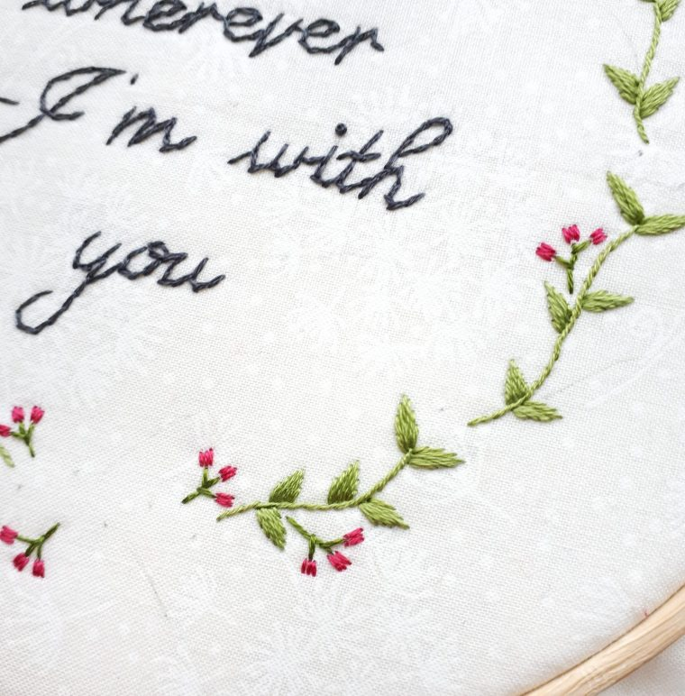 Pretty stitched berry accents. Free floral embroidery pattern
