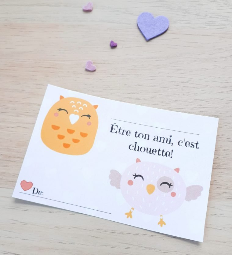 Punny French Valentines. Free printable Valentine's Day cards in French