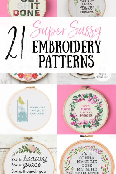 Stitch your worries away with one of these 21 Super Sassy Embroidery Patterns! Sarcastic cross stitch for the modern stitcher. Funny embroidery patterns for your home and to shock your visitors. Sassy cross stitch for every mood! Modern embroidery patterns for your home.