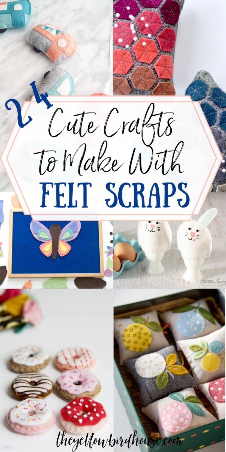 Not sure what to do with all your felt scraps? Here's a great round-up of 24+ super cute crafts to make with felt scraps! Adorable project ideas for felt scraps. DIY felt crafts. Felt magnets, pincushions, ornaments, toys and accessories using scrap felt fabric.