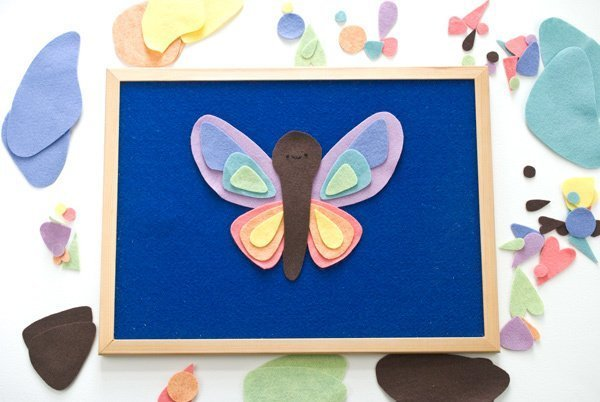 24+ Projects to make with felt scraps. Sweet butterfly felt board activity.