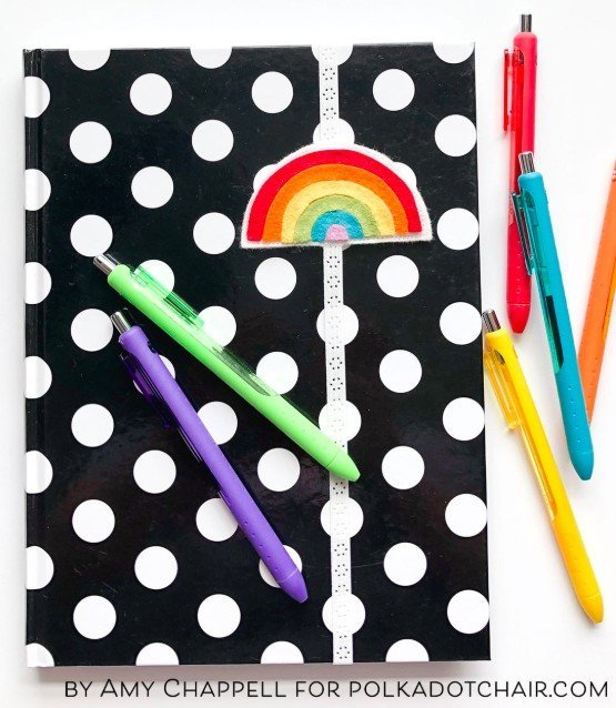 Make a felt rainbow bookmark using felt scraps
