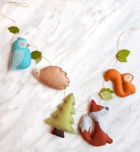 Felt fox pattern, felt hedgehog plushie, felt woodland garland pattern pack