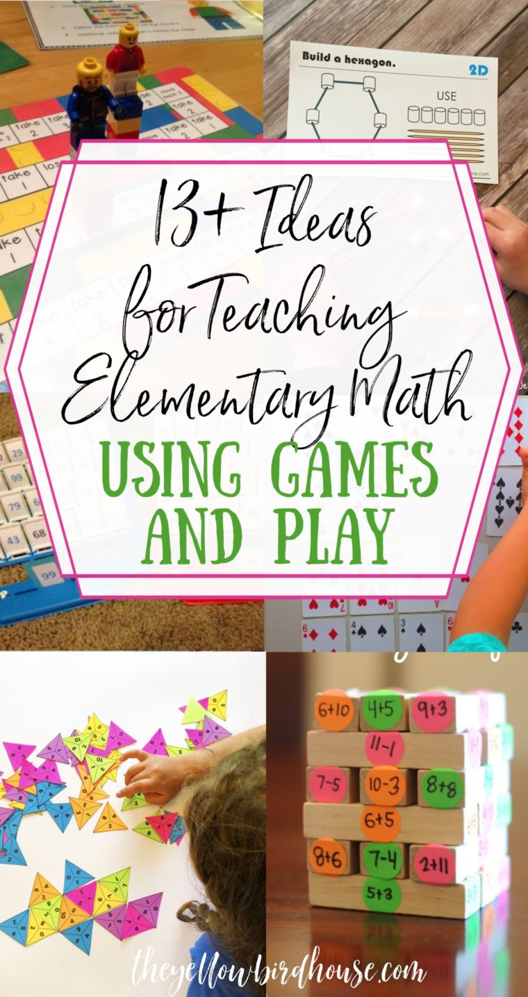 13+ Ideas for teaching elementary math at home using games and play. Fun ideas for kids to learn fundamental math skills at home while playing. Homeschool math ideas using engaging play. Teach fractions, geometry, sums and more with these math-inspired games.