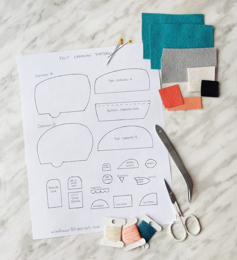 Materials you'll need to make cute felt caravans.