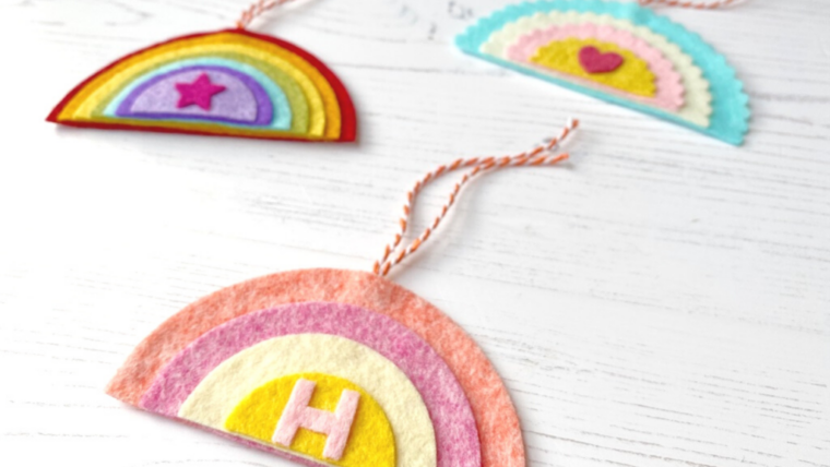 DIY Rainbow gift tags with felt scraps