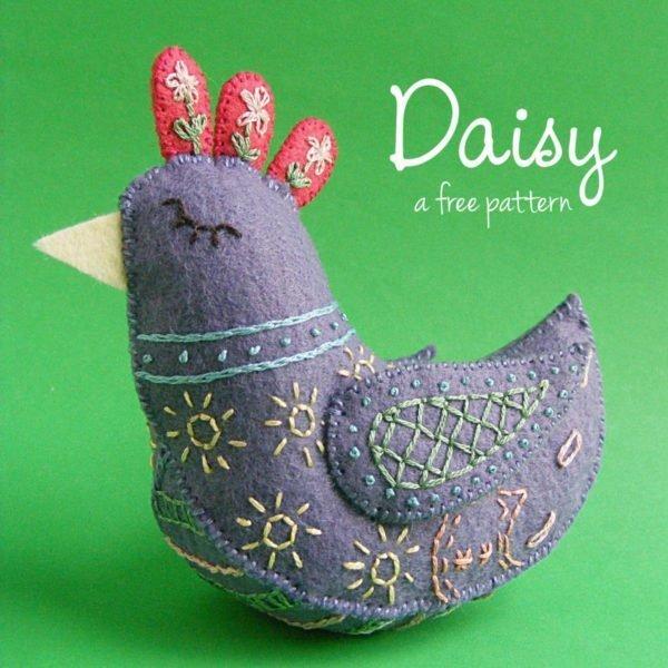 Embroidered felt bird plushie