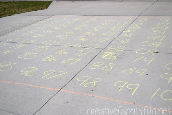 Driveway hundred chart for outdoor math play