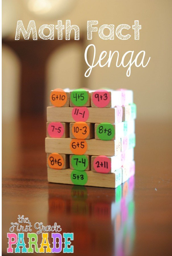 Jenga hack for practicing math equations