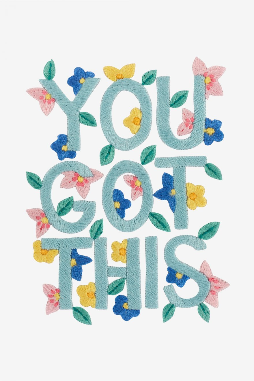 Free encouraging embroidery pattern