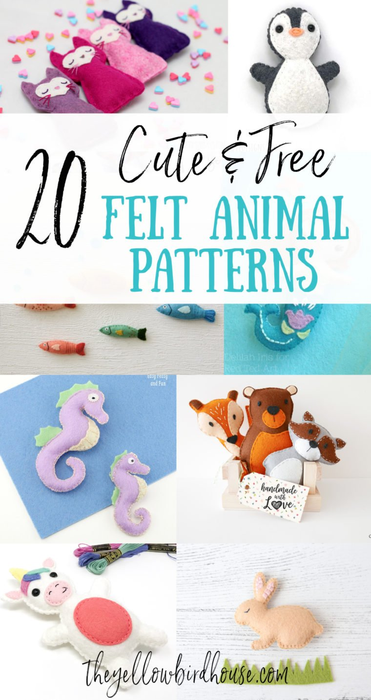 20 Free felt animal patterns. Make a whole forest or ocean full of felt plushies with these free patterns. Patterns for nautical creatures, woodland creates and magical creatures! DIY felt animal patterns, free to download. Tutorials suitable for beginner sewists. Beginner-friendly felt sewing patterns for adorable animals!