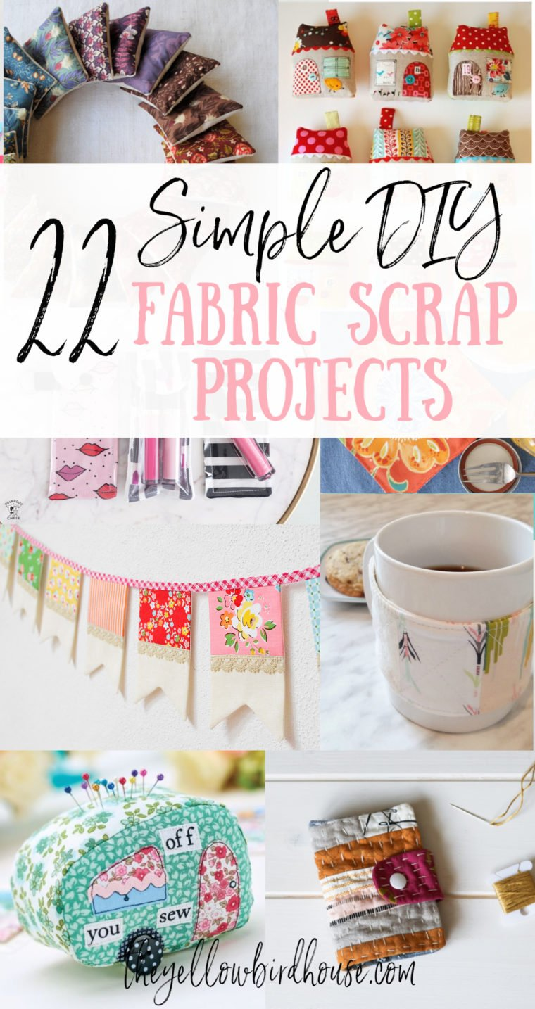 22 Simple DIY Fabric Scraps Projects to make in an afternoon. Use up some of your too-pretty-to-throw-out fabric pieces making some of these awesome DIY sewing projects. Great practical household items or sweet gift ideas. There's lots of simple sewing project using fabric scraps to choose from in this list!