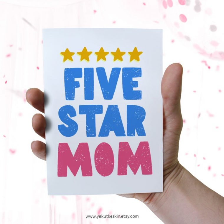 Five Star Mom printable card for Mother's Day.
