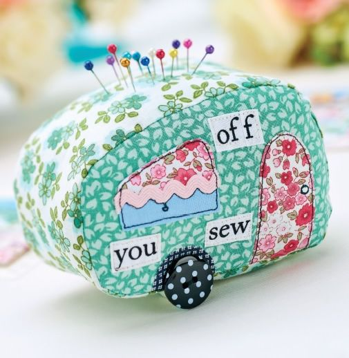 Patchwork caravan pincushion
