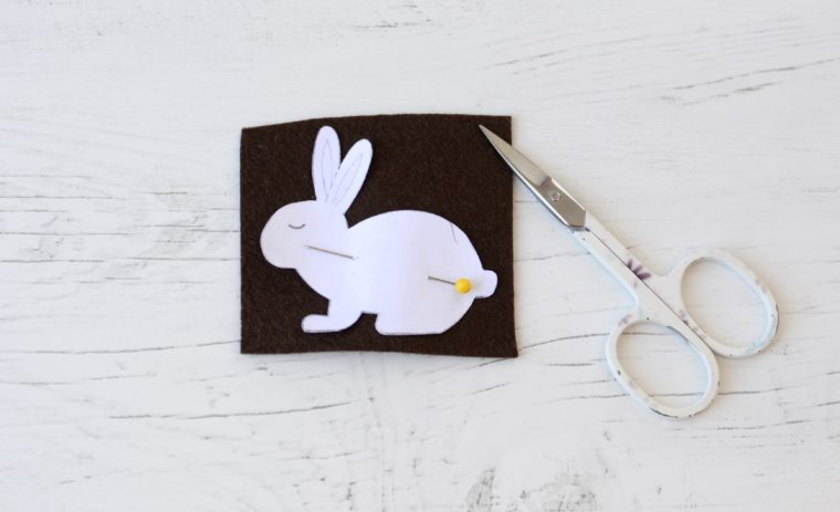 Cutting out a DIY felt bunny