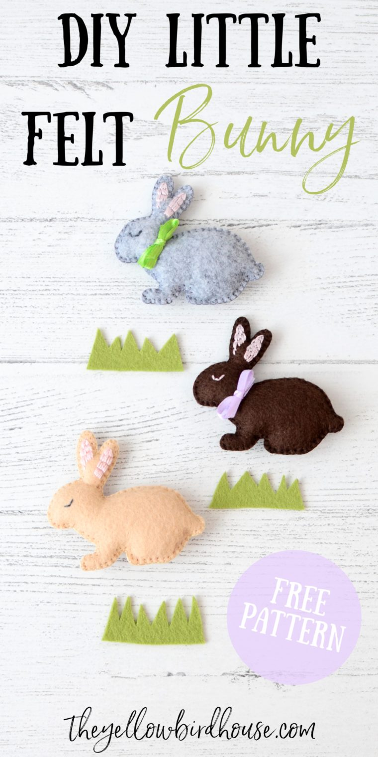 DIY Little Felt Bunny tutorial with free pattern. Make an adorable felt rabbit to use in a garland, as a toy or ornament. Free felt stuffie pattern. Woodland animal DIY pattern
