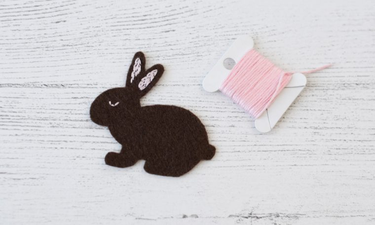 Stitching some details on the DIY felt bunny tutorial