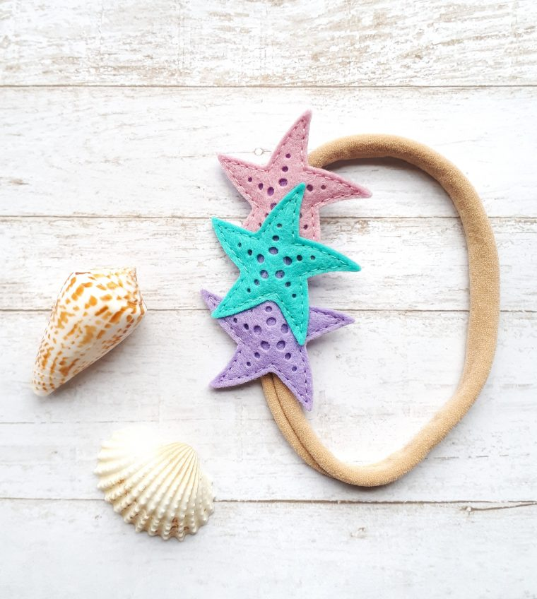Felt Starfish Headband die cuts.