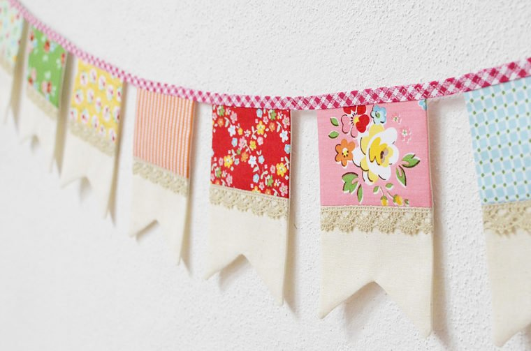 Pretty fabric scrap flag bunting.
