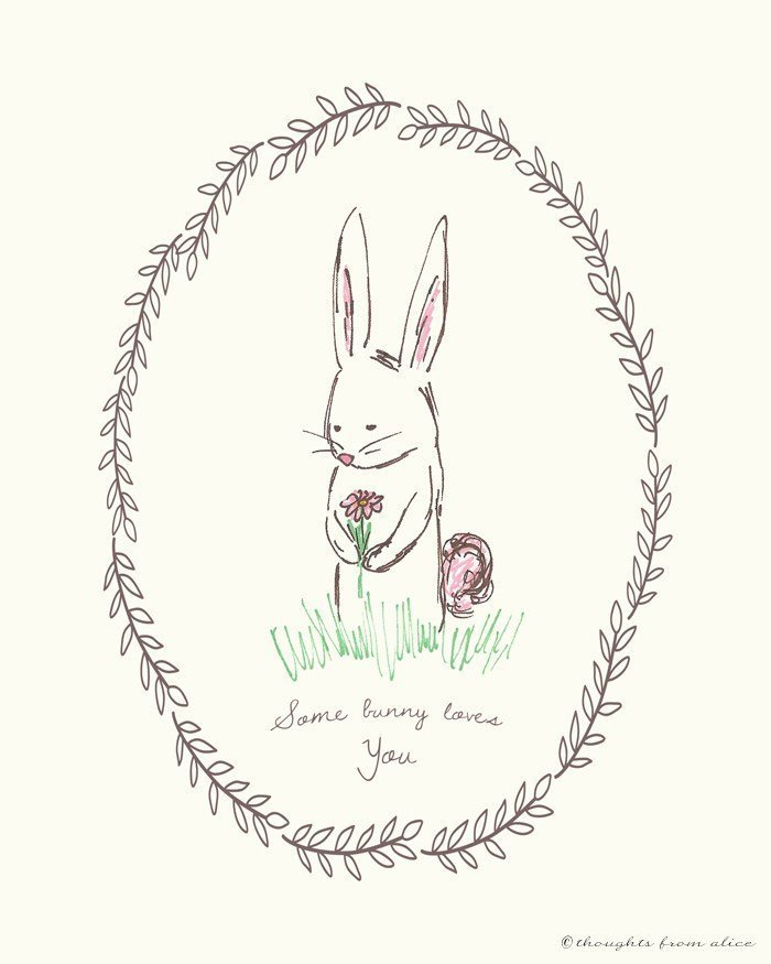 Vintage-y bunny art print