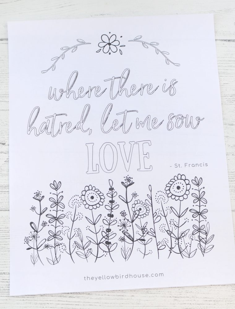 Free uplifting printable colouring page